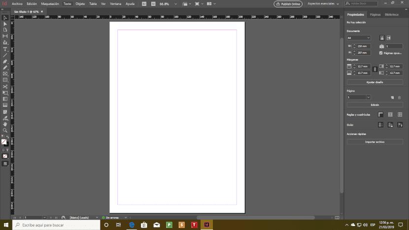 Captura de pantalla de Adobe InDesign