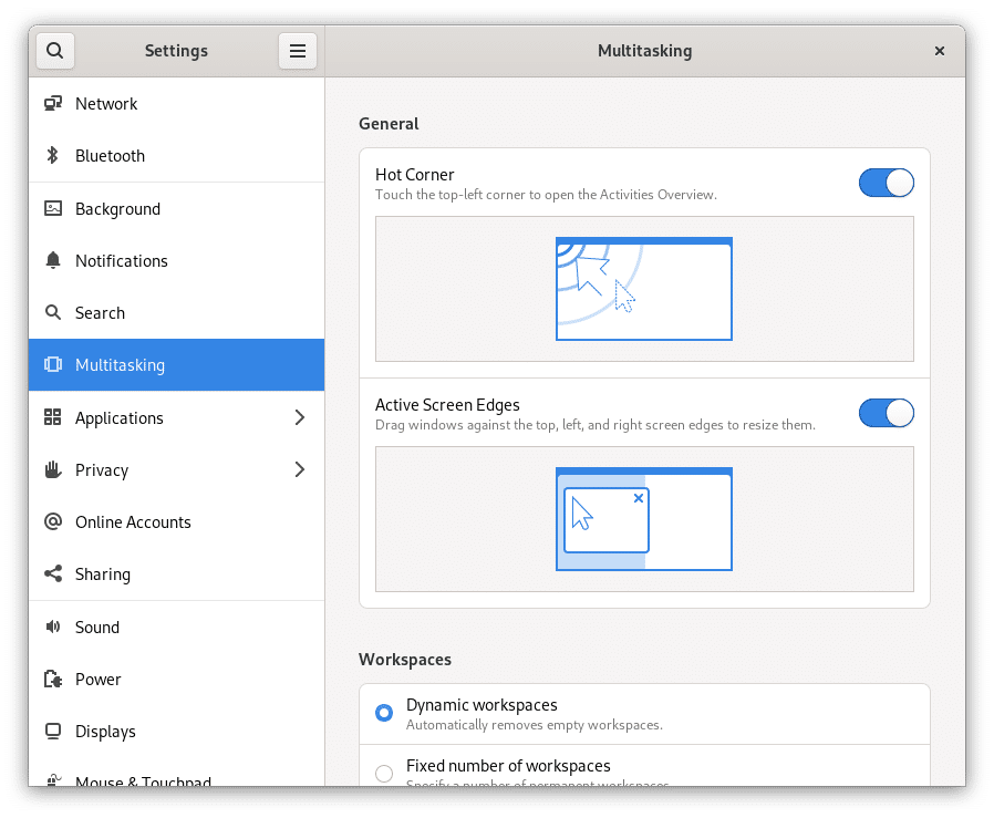 Ajustes de multitarea en GNOME 41