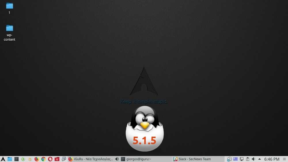 Arch Linux de Junio con Linux 5.1.5