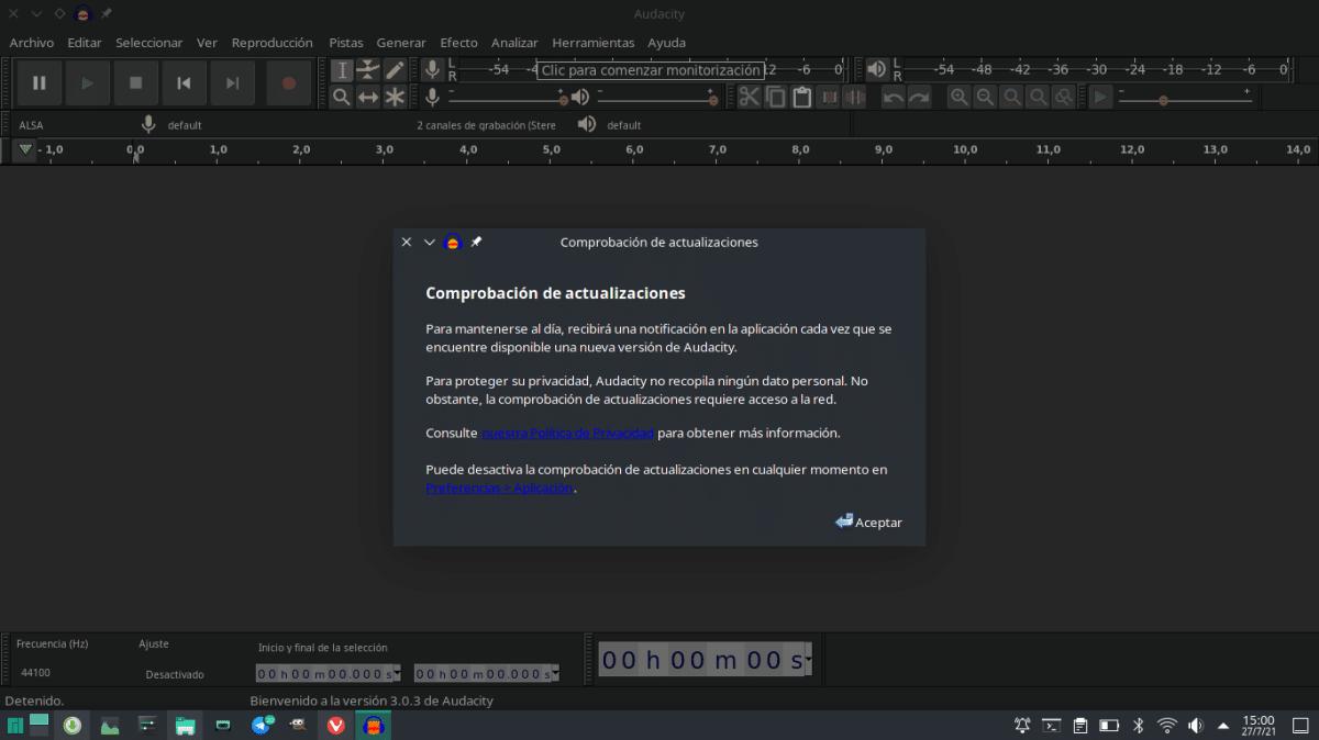 Audacity 3.0.3 en AppImage