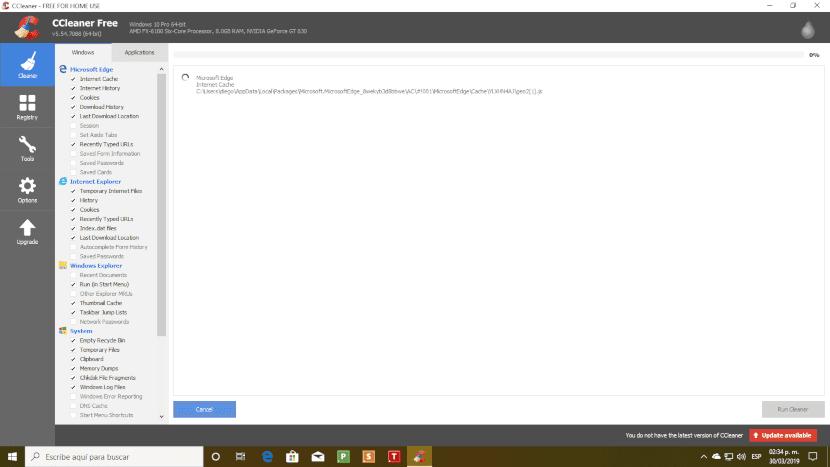 Captura de pantalla del programa CCleaner.