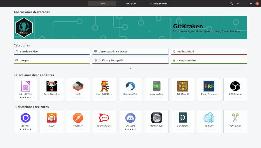 Captura de pantalla del Centro de software de Ubuntu.