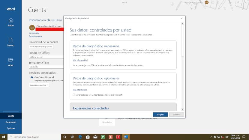 Configuración de privavidad en MIcrosoft Office
