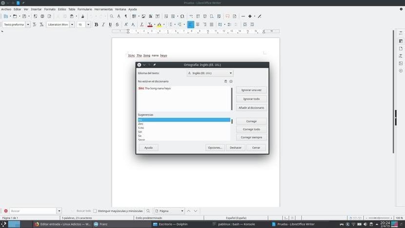 Corrector de inglés de LibreOffice