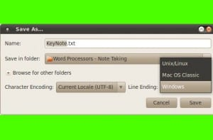 Seleccionar DOS, Unix menú del editor de texto