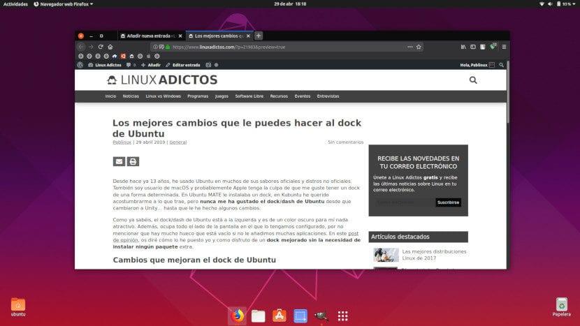 Dock de Ubuntu transparente y centrado