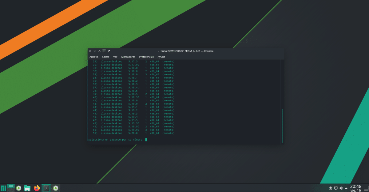 Downgrade software en Manjaro