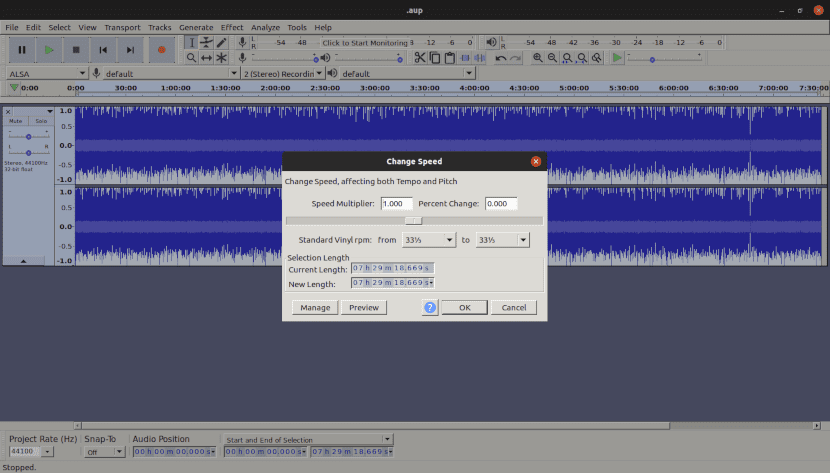 Captura de pantalla del software de edición de audio Audacity