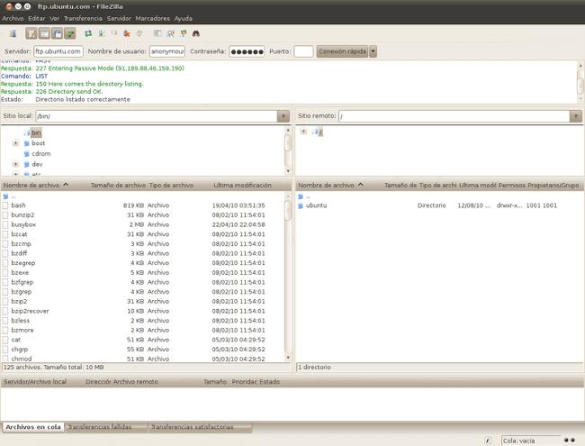 FileZilla 3.3.1. en Ubuntu