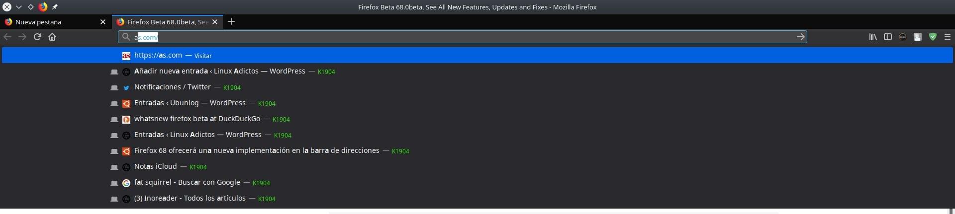 Firefox beta 68
