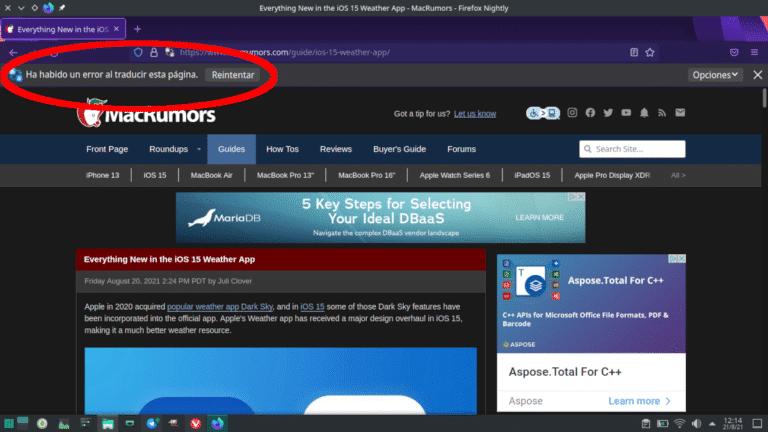 Firefox falla al traducir