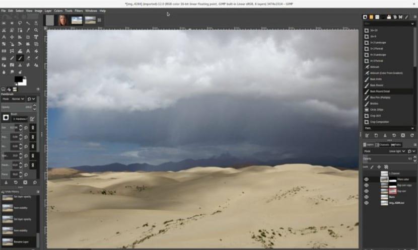 Captura de pantalla de Gimp 2.10