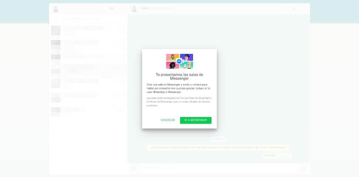 Iniciar salWhatsApp Web ya es compatible con las salas de Facebooka de Facebook en WhatsApp Web