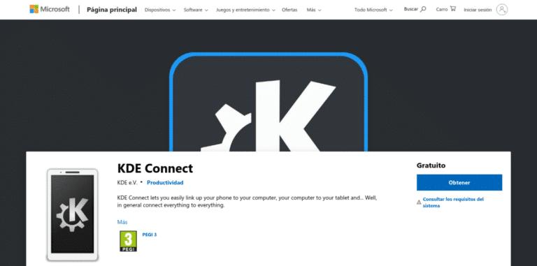 KDE Connect en la Microsoft Store