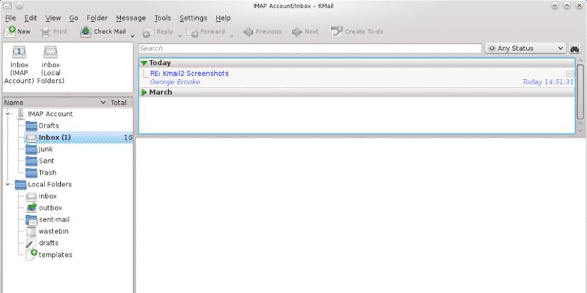Captura de pantalla de KMail