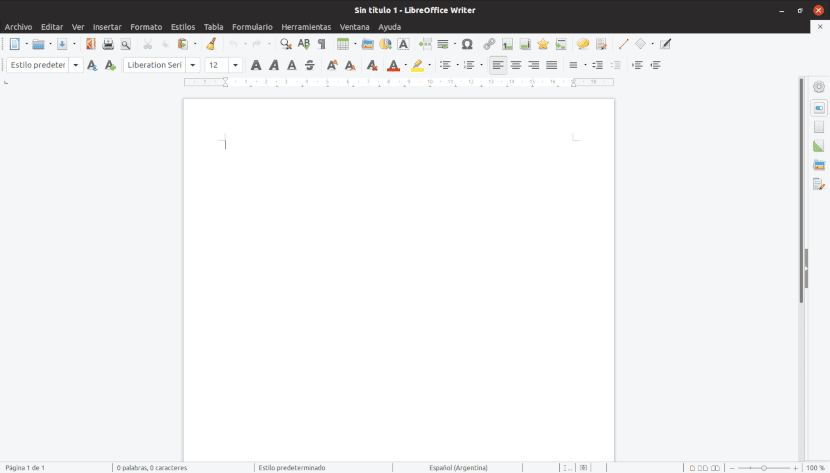 Captura de pantalla de LibreOffice Writer