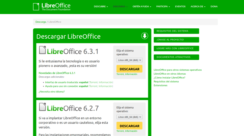 LibreOffice 6.3.1 y 6.2.7