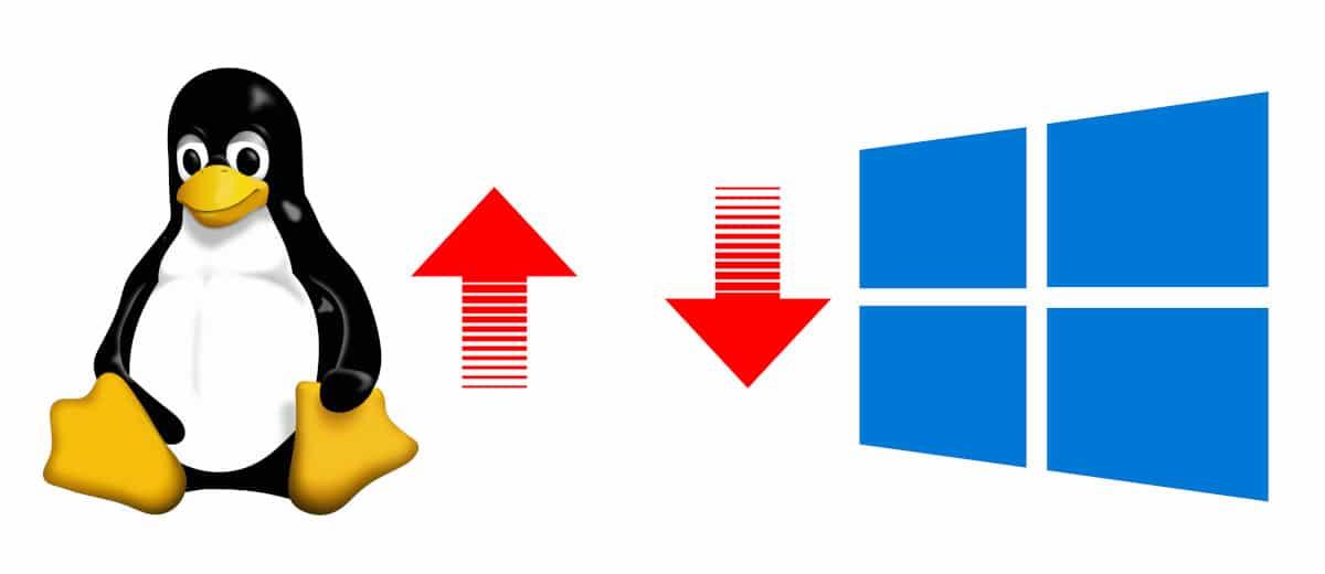 Linux sube y windows baja