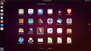 Captura de pantalla del menú de aplicaciones de Ubuntu.