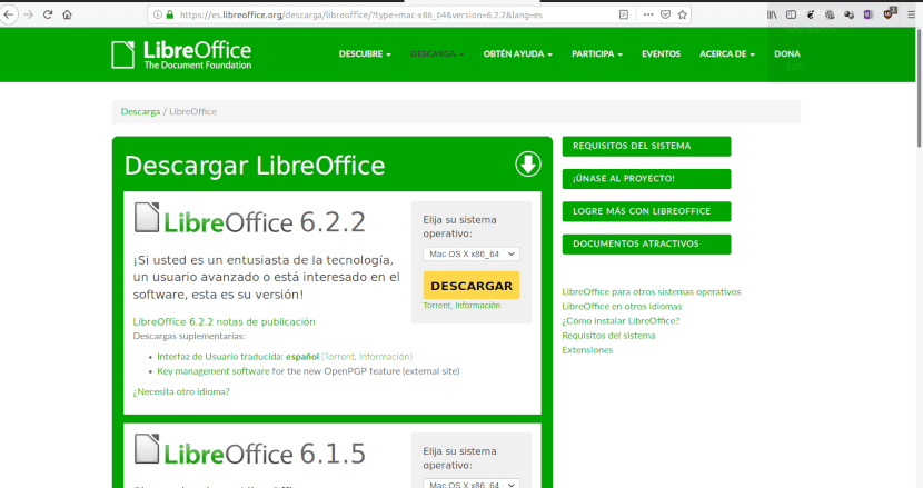Página de descarga de LibreOffice para Mac