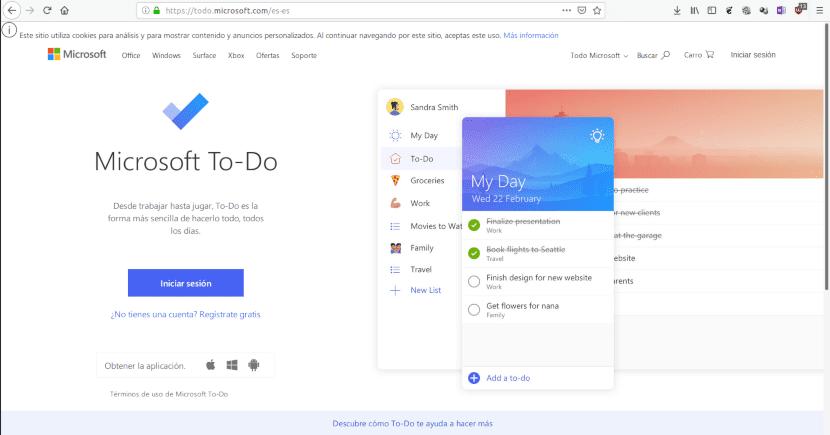 Página web de Microsoft To-Do