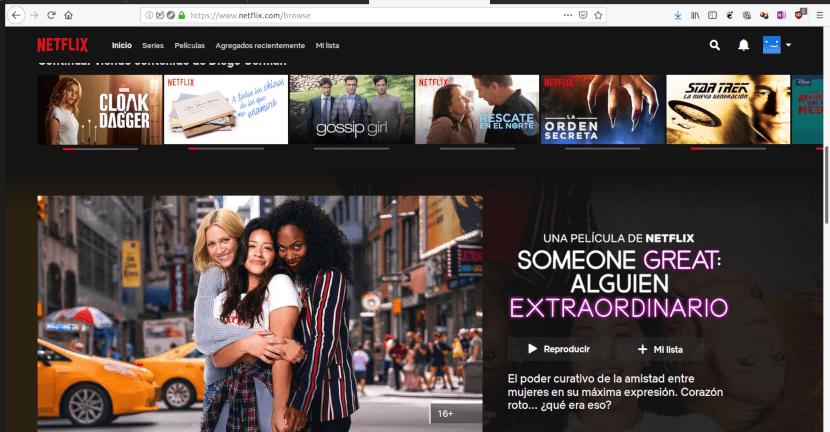Página web de Netflix.