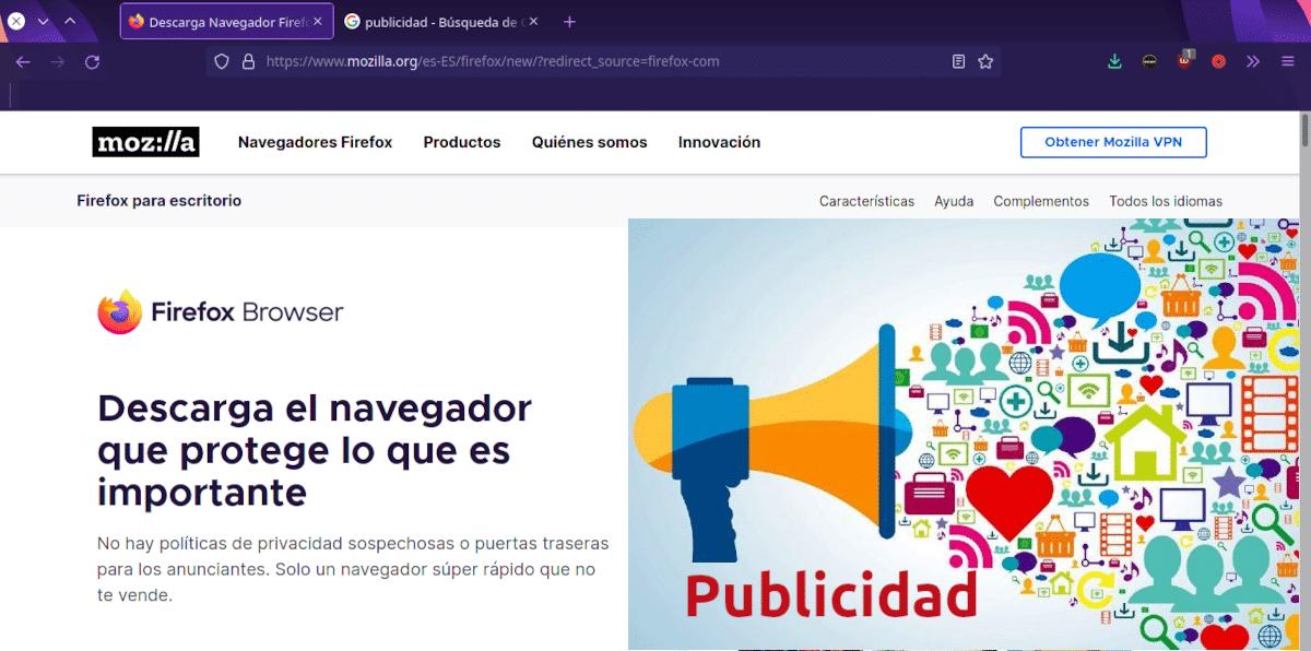 Publicidad en Firefox 92 en adelante