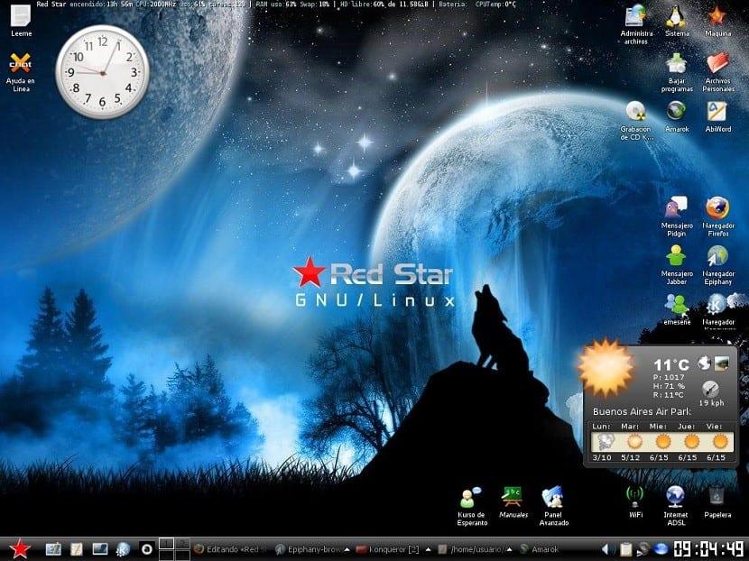 Así lucía la versión 1.6 de Red Star, un sistema operativo que en su última versión se caracteriza por espiar todavía más a su población, usando sistemas como el marcado de documentos