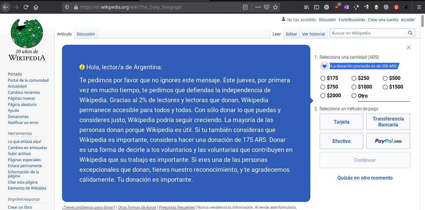 The Telegraph contra Wikipedia