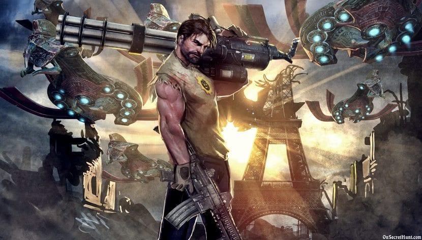 Personaje Sam del videojuego Serious Sam con un arma
