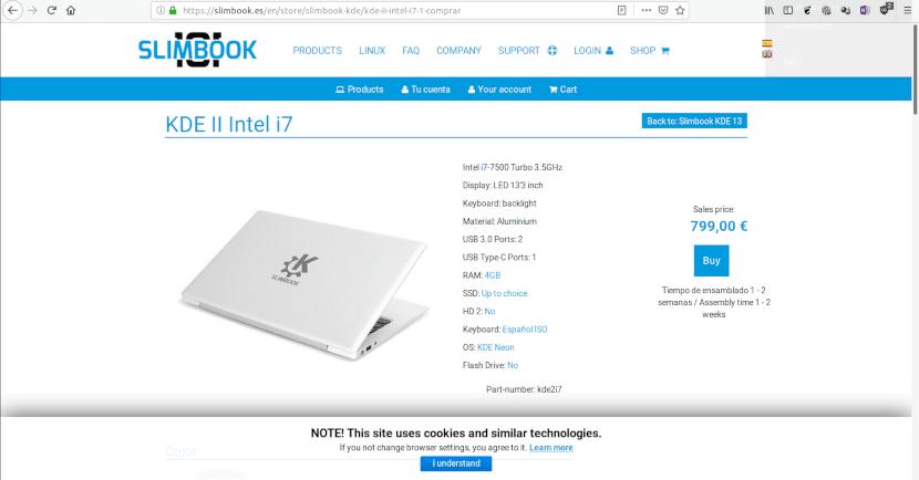 Captura de pantalla de la Página de venta de la Slimbook KDE II
