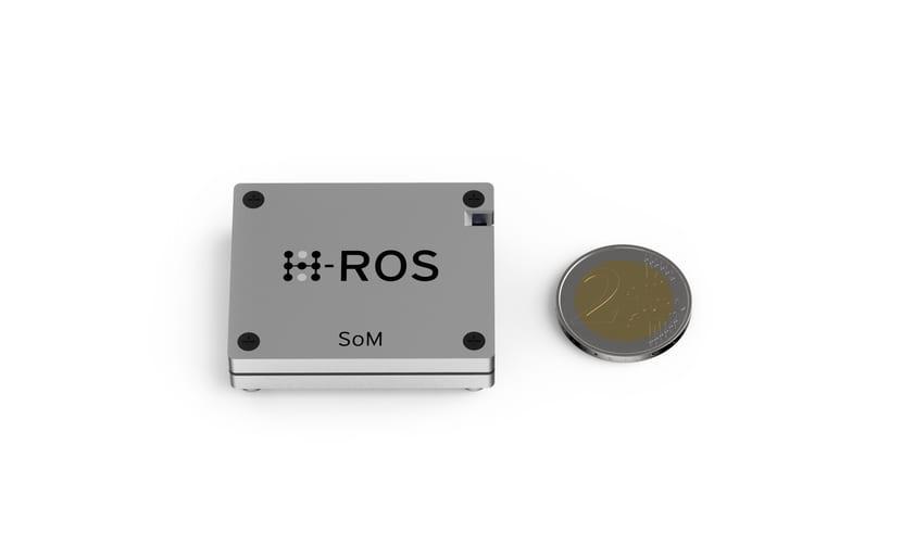 H-ROS chip y moneda de 2 euros