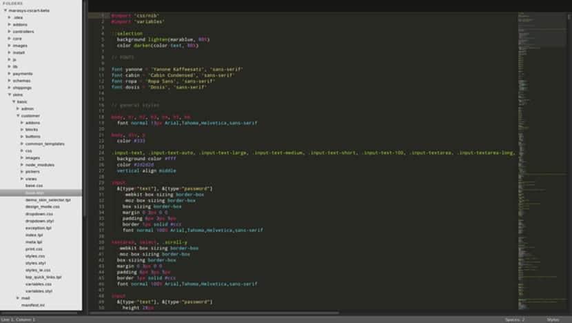 Imagen de la pantalla de Sublime Text