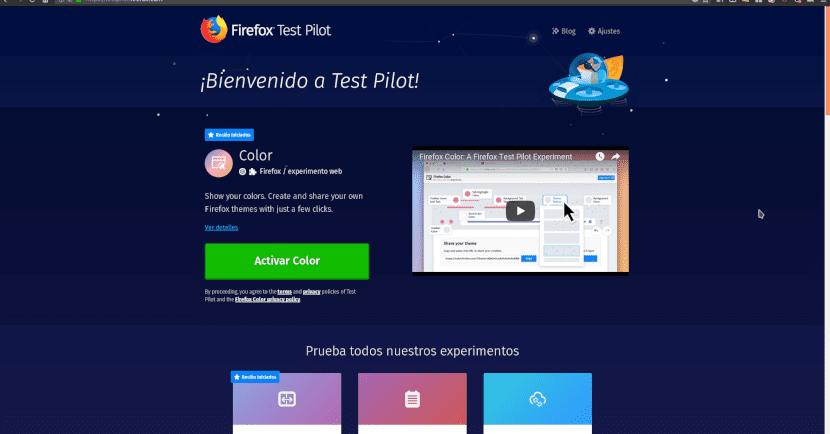 Web oficial de Test Pilot de Mozilla