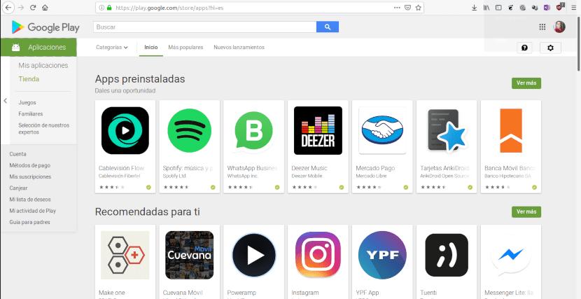 Página de inicio de la tienda de aplicaciones Google Play