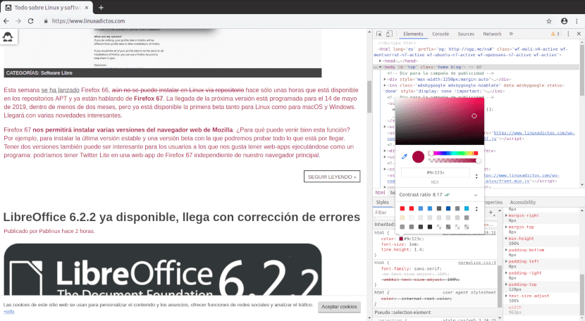 Captura de pantalla de las Chrome DevTools