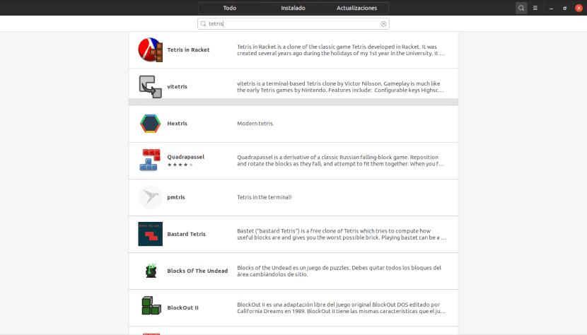 Versiones linux de Tetris en el Centro de Software de Ubuntu