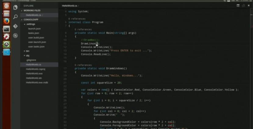 Captura de pantalla de Visual Studio Code.
