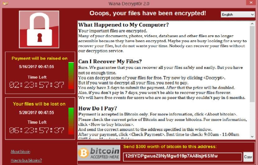 WannaCry, pantalla de bloqueo