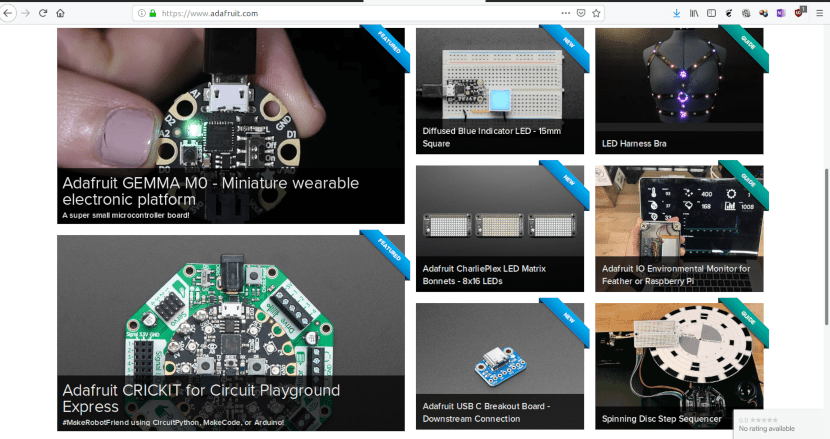 Captura de la web de Adafruit