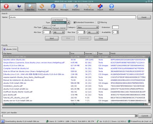 aMule para Linux, compartir archivos P2P bajo sistemas GNU Linux