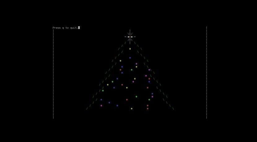 árbol de navidad consola Linux