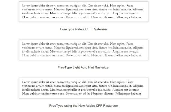 FreeType CFF Renderizado comparativa