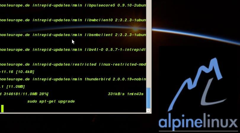 Representación de consola y logo de Alpine Linux
