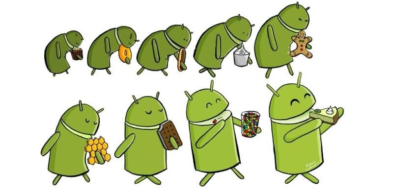Caricatura de mascotas de Android (Andy) evolucionando