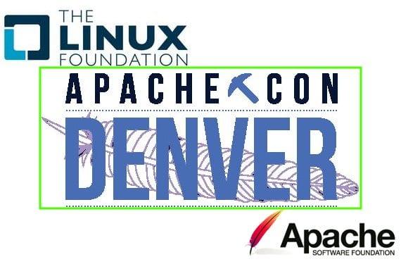 Cartel ApacheCon 2014 Denver y logos de la Apache Foundation y la Linux Foundation
