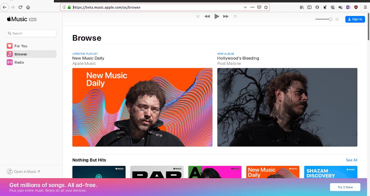 Apple MUsic está disponible en el navegador