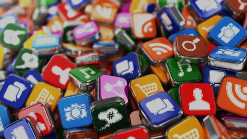 Iconos de apps amontonados