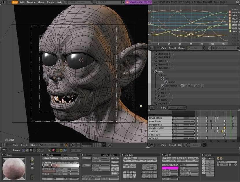 Blender captura de pantalla trabajo modelado personaje 3D