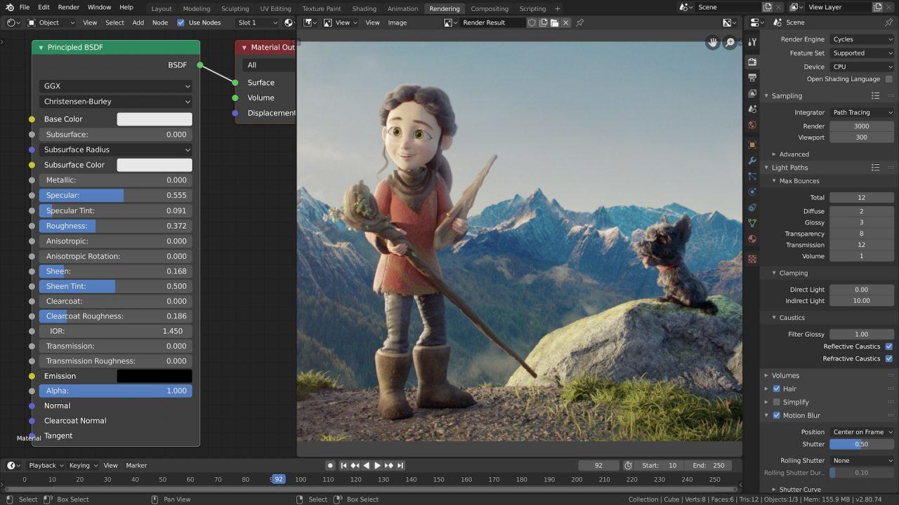 Blender animación 3D render, simulación, VFX